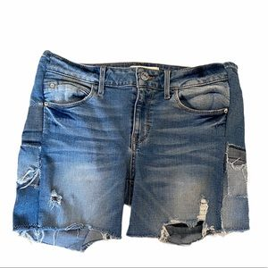 GUESS Sexy Curve Distressed Patch Denim Short 26